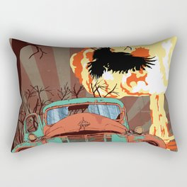 Art print: Atomic explosion, vintage rusted car, raven. Rectangular Pillow