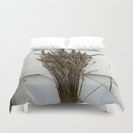 Dried lavender on the fence Duvet Cover