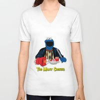 elmo V-neck T-shirts featuring Too Many Cookies by Shawn Hall Design
