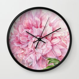 Pink Peony Floral Watercolor Detailed Botanical Garden Flower Realism Wall Clock
