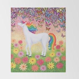 whimsy (rainbow unicorn), butterflies, African daisies Throw Blanket