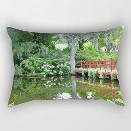 Red Bridge over the Magnolia Swamp Rectangular Pillow