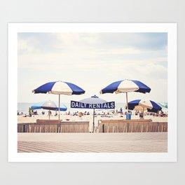Beach Umbrella Photography, Blue White Brown Coastal Art, Beach Summer Photograph, Seashore Print Art Print