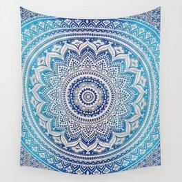 Teal And Aqua Lace Mandala Wall Tapestry