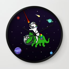 Unicorn Riding Triceratops In Space Wall Clock