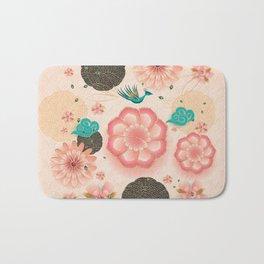 Floral Ornament, Flying Peacock Spring Peach Garden, Decorative Pink Flowers, blossom sakuras BOHO Bath Mat