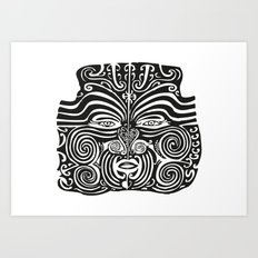 Maori Moko | Tribal Tattoo | New Zealand | Black and White Art Print