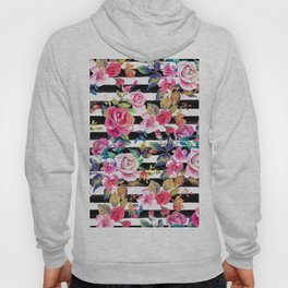 Cute spring floral and stripes watercolor pattern Hoody