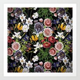 Vintage & Shabby Chic - Lush baroque flower pattern Art Print