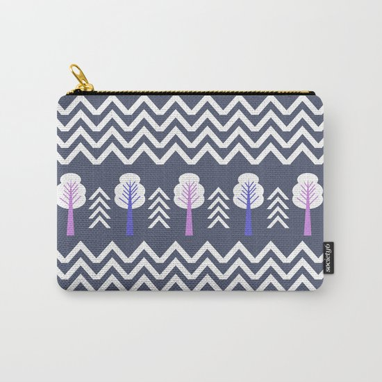 Trees and chevron in white Carry-All Pouch