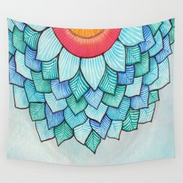 Pencil Watercolor Tropical Flower Wall Tapestry