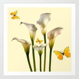 Ivory Calla Lilies Yellow Butterflies Art Print