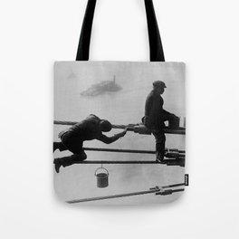 Brooklyn Bridge Painters Vintage Photograph (1915) Tote Bag