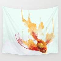 goldfish Wall Tapestries featuring GoldFish by Carlos Asensi
