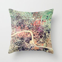 London Mosaic Map #1 Throw Pillow