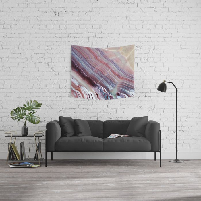 Purple & Pink Striped Agate Geode Quartz Slab Wall Tapestry