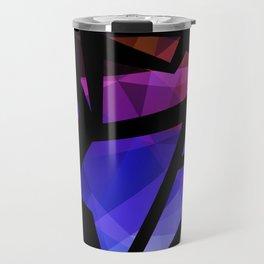 Abstract print of triangles polygon print. Bright dark design colors Travel Mug