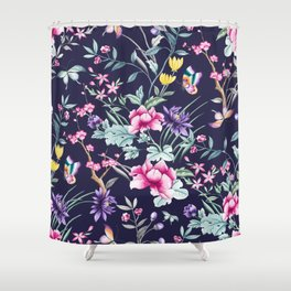 Navy Blue Chinoiserie Asian Floral Print Shower Curtain