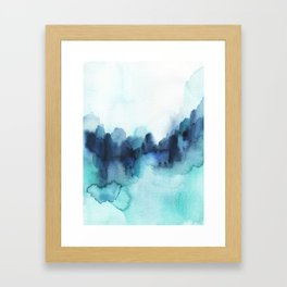 Wonderful blues Abstract watercolor Framed Art Print