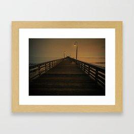 Wooden Pier on Cayucos Beach, California at Sunset Framed Art Print