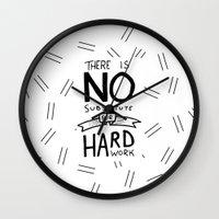 work hard Wall Clocks featuring Hard Work by Sean Coady