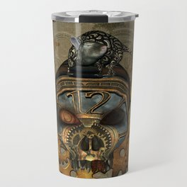 Steampunk, awesome steampunk skull with steampunk rat Travel Mug