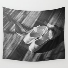 Ballet dance shoes. Black and White version. Wall Tapestry