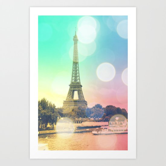 Paris. : Pastel Rainbow Bokeh Art Print