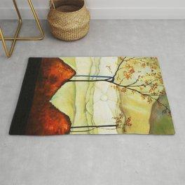 Autumn Sun & Foliage landscape painting by Egon Schiele Rug