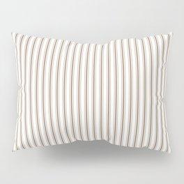 Mattress Ticking Narrow Striped Pattern in Dark Brown and White Pillow Sham