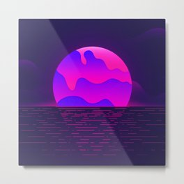 Synthwave Space #12: Twilight horizon (pixelart) Metal Print
