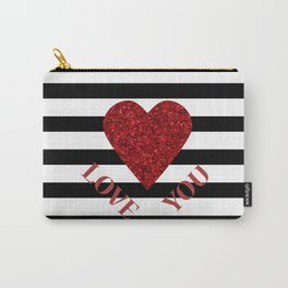 LOVE YOU Valentine print. Red glitter heart and black stripes congratulation card Carry-All Pouch