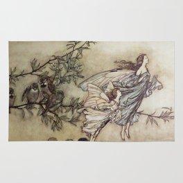 """""""Fairies Tiff with the Birds"""" by Arthur Rackham Rug"""