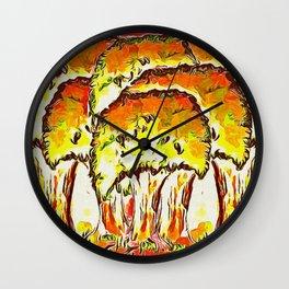 Tree Copse in Autumn Wall Clock