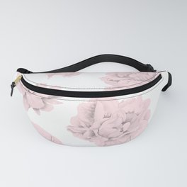 Simply Roses in Pink Flamingo Pink on White Fanny Pack
