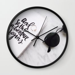 Book and sunglasses Wall Clock