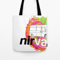 nirvana Tote Bags featuring nirVANa by nick inglis