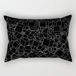 Cubic B&W inverted / Lineart texture of 3D cubes Rectangular Pillow