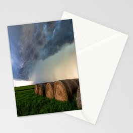 Time to Bale - Storm Over Rows of Round Hay Bales in Kansas Stationery Cards