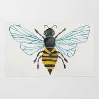bees Area & Throw Rugs featuring Honey Bee by Cat Coquillette