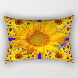YELLOW SUNFLOWERS BLUE ART PATTERN Rectangular Pillow