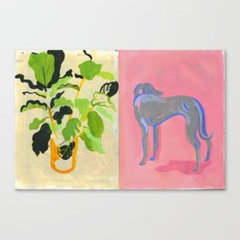 Plant and Pink dog Canvas Print