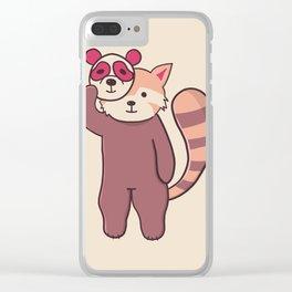 Cute red panda digital illustration Clear iPhone Case