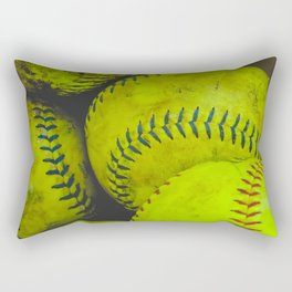 A Bucket Full of Softballs Rectangular Pillow