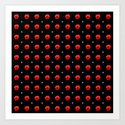 White stars red flowers grid by stephobrien