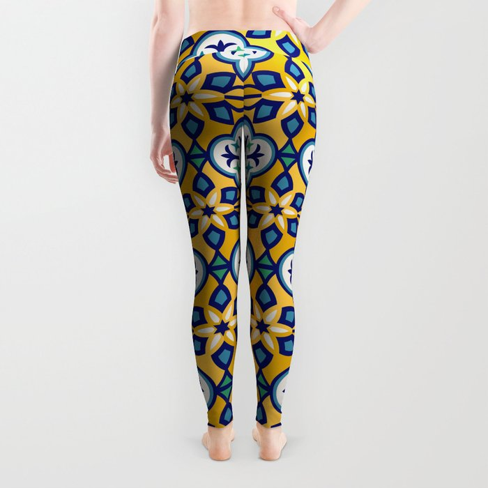Yellow and Blue Moroccan Tile Leggings