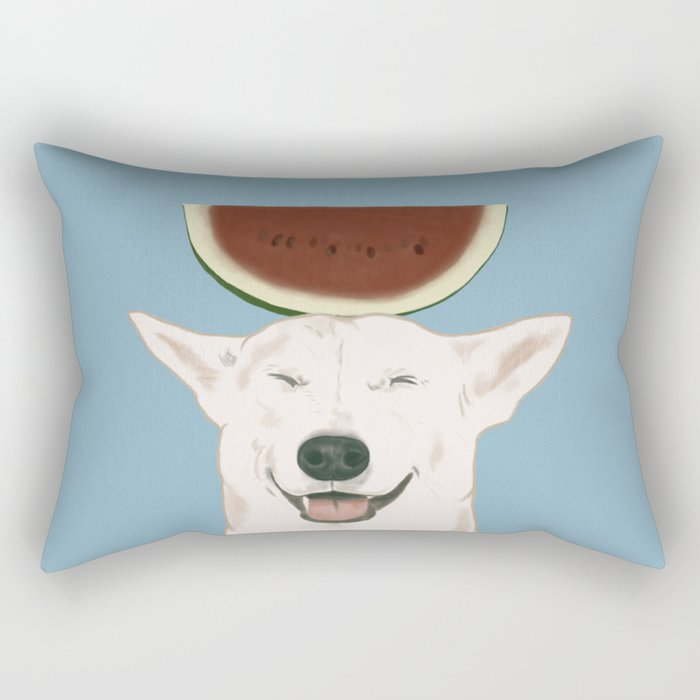 Watermelon doggy smile Rectangular Pillow