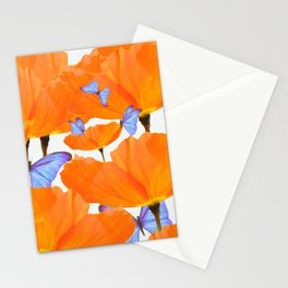 Poppies And Butterflies White Background #decor #society6 #buyart Stationery Cards