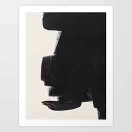 Mid Century Modern Minimalist Abstract Art Brush Strokes Black & White Ink Art Colorfield Art Print