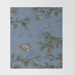 FLYING SQUIRRELS IN THE PINES (twilight) Throw Blanket